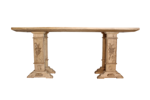 Sorrento Console in French Oak with Hand Carved Laurel Leaf Detail on Legs