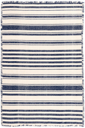 Navy and White Striped Cotton Rug