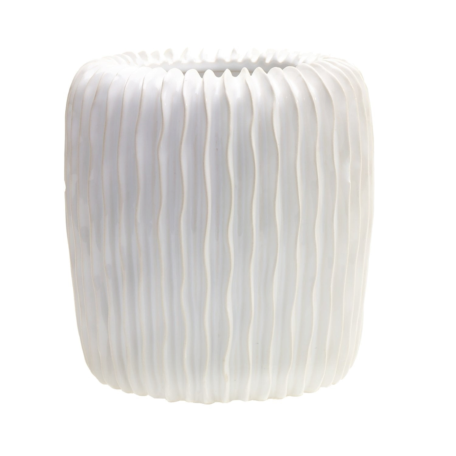 White Ribbed Planter