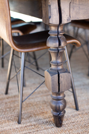 Leather and Metal Side Chair Styled at Dining Table