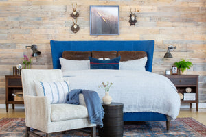 Chestnut Colored Leather Euro Sham Styled on Blue Bed