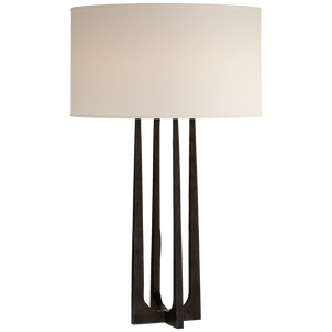 Statement Style Hand Forged Table Lamp in Aged Iron Finish with Natural Percale Shade