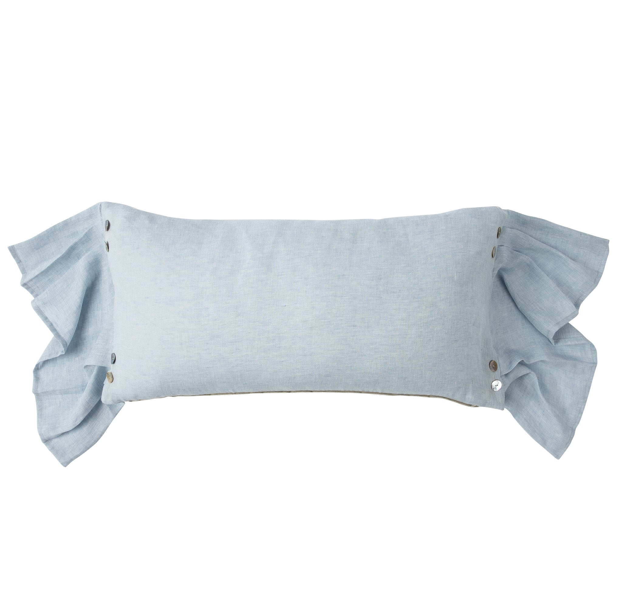 Sky Blue Lumbar Pillow with Sheer Draped Sides