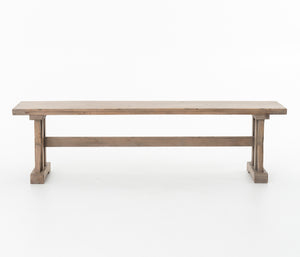Wood Bench with Trestle Base