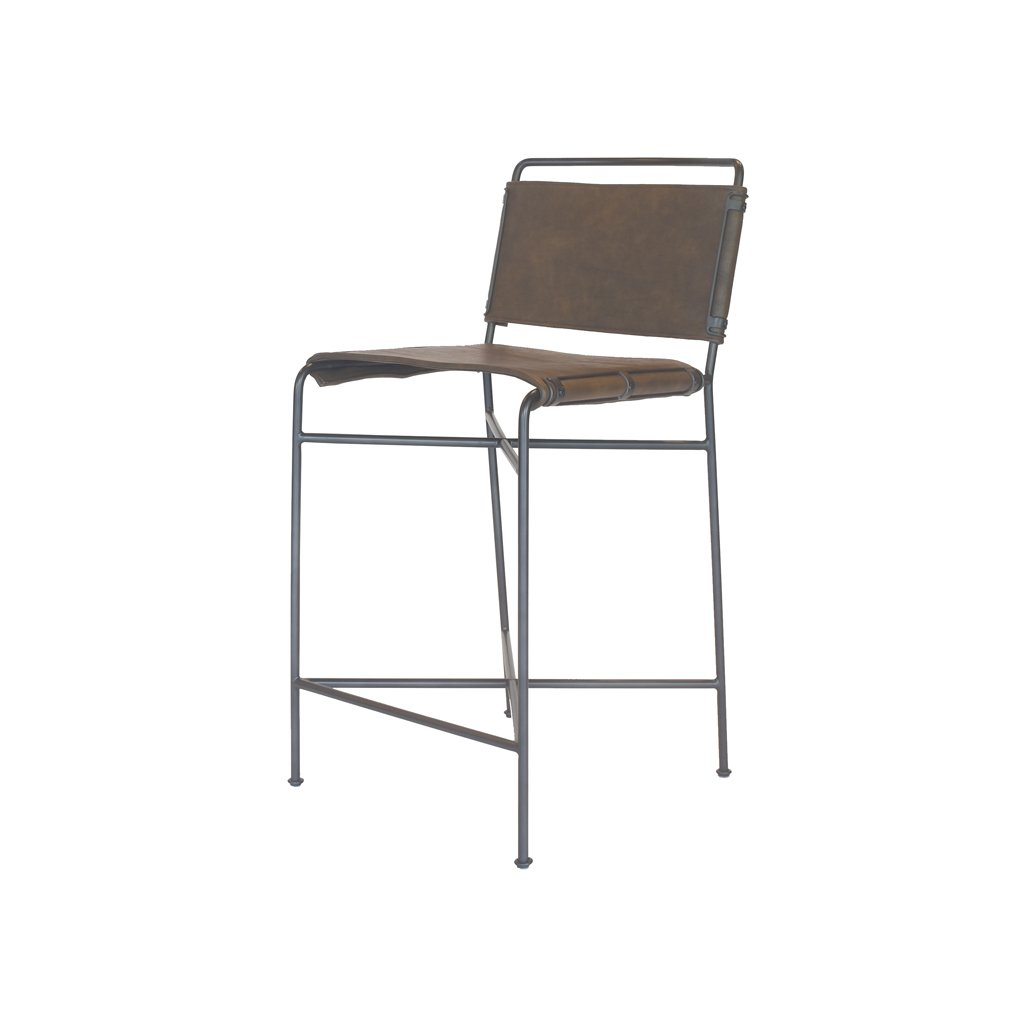 Brown Leather and Metal Counter Stool Side