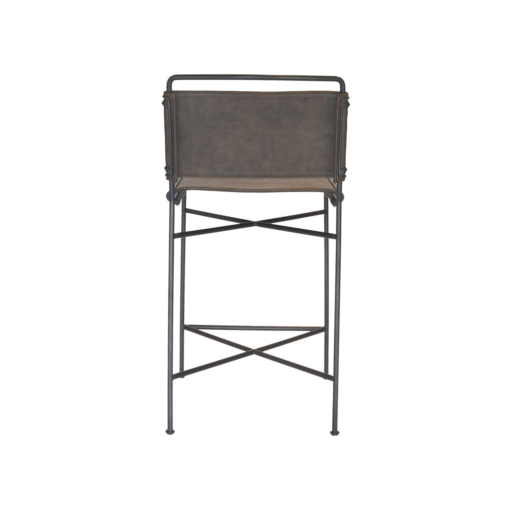 Back of Brown Leather and Metal Counter Stool