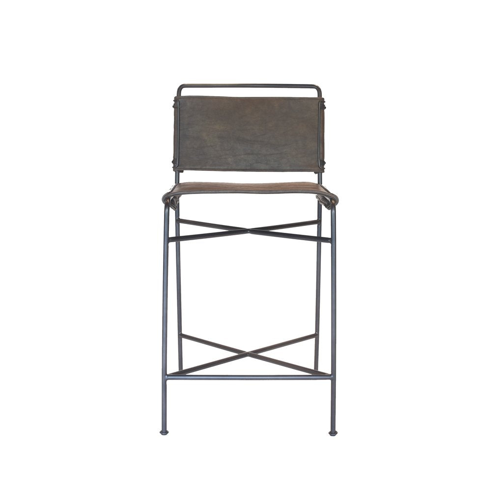 Brown Leather and Metal Counter Stool