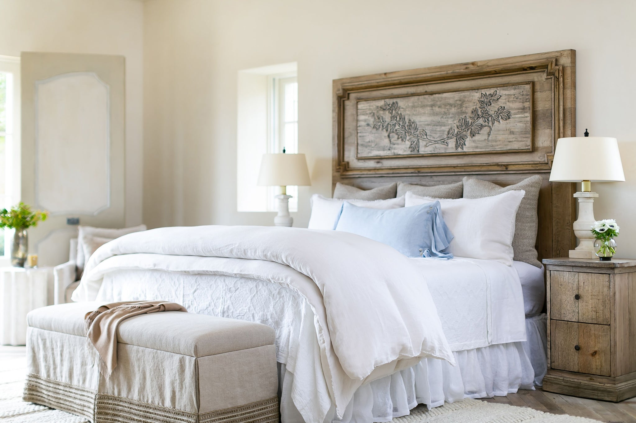 Patterned White Coverlet