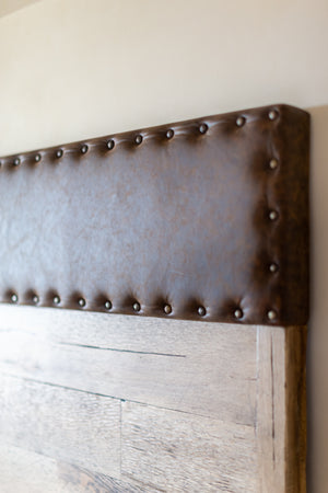 Close Up of Laurent Headboard Nail Heads on Chocolate Leather
