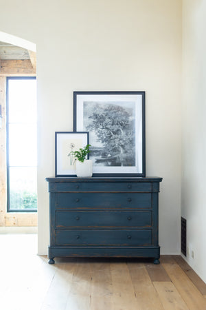 Rubbed Black Chest of Drawers with Iron Pulls Styled in Home