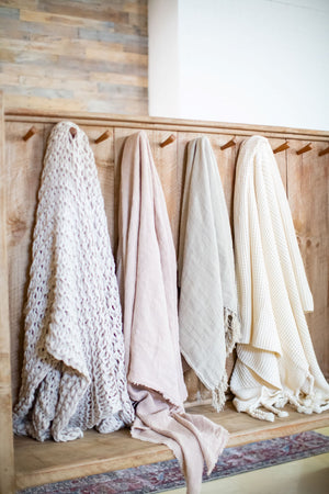 Oyster Linen Throw with Tassels Styled on Hooks