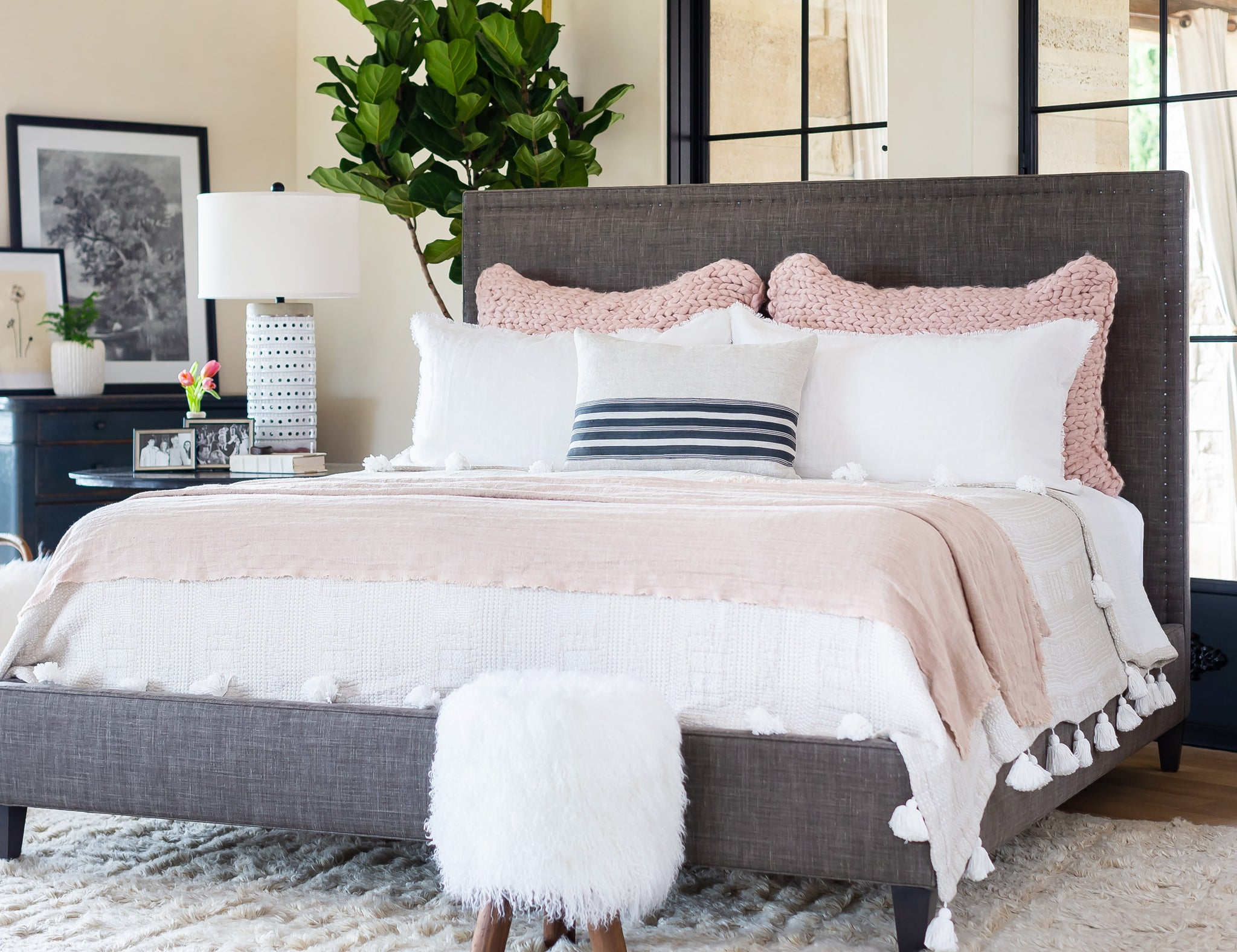 Pink Chunky Knit Super King Sham Styled in Bedroom