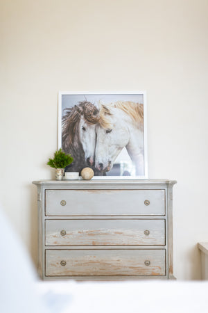 Pair of Horses with Modern White Frame