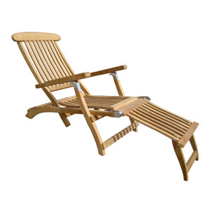 Teak Lounger w/ White Cushion