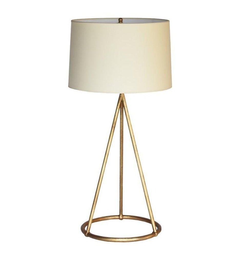 Gold Finish Architectural Lamp with Natural Paper Shade