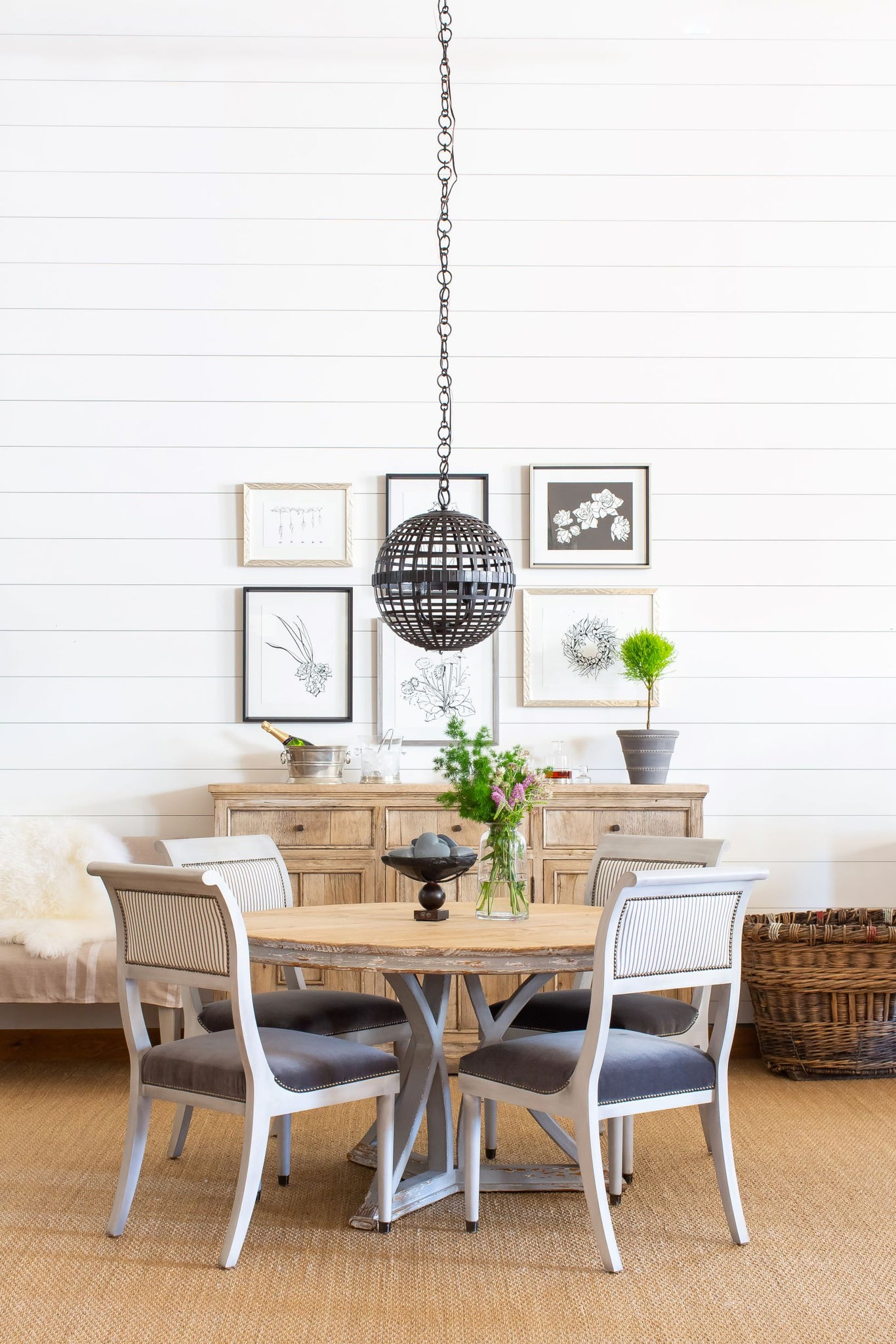 Monica Circle Dining Table with Natural Top and Distressed Grey Finish Pedestal Base Styled in Home