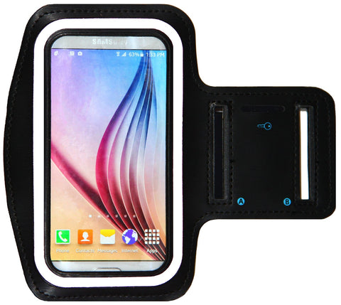 Galaxy S6 / S6 Edge Running & Exercise Armband with Key Holder & Reflective Band (Black)