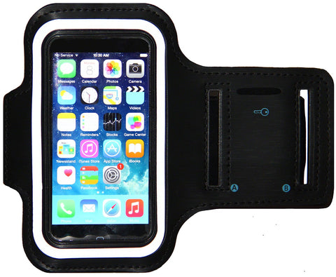 iPhone 5/5S/5c SE Running & Exercise Armband with Key Holder & Reflective Band | Also Fits iPhone 4/4S