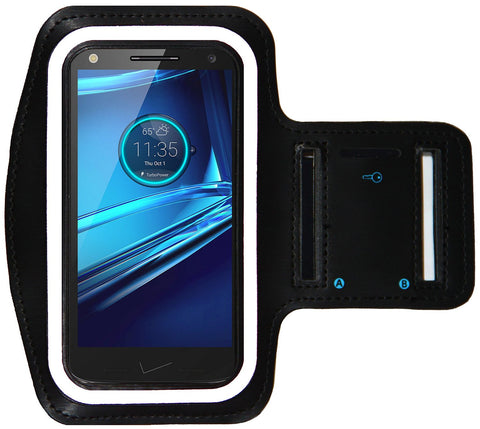 Sports Armband for Motorola Droid Turbo 2 and Droid MAXX + Key Holder (Black)