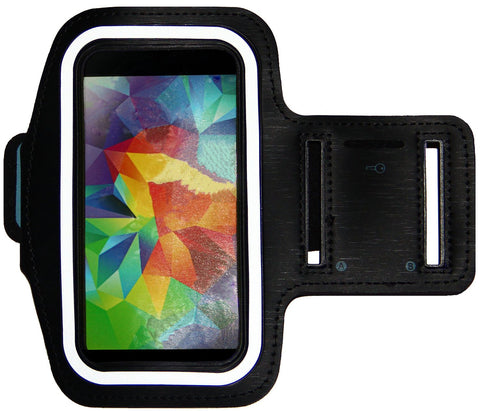 Galaxy S5 / S6, iPhone 6 6S (4.7) Armband with Key Holder & Adjustable Reflective Band (Black)