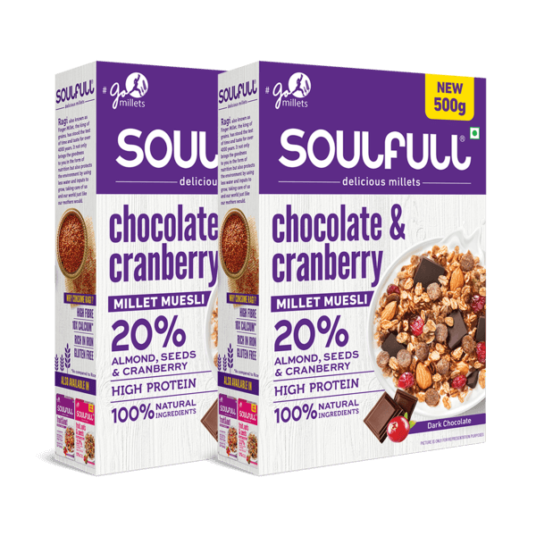 Chocolate & Cranberry Millet Muesli 500g | Pack of 2 (1kg)