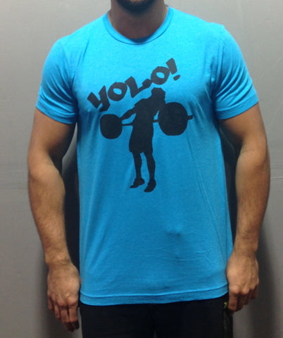 Men's Neon Blue YOLO Tee