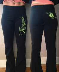 Women's Black Pants (Green Accent)