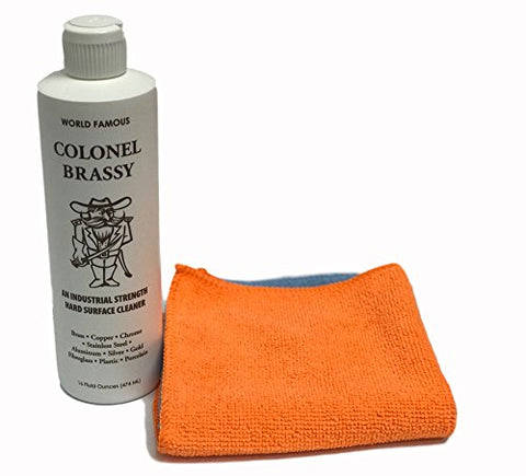 Colonel Brassy Metal Chrome Aluminum Plastic Cleaner With Microfiber Polishing Cloth