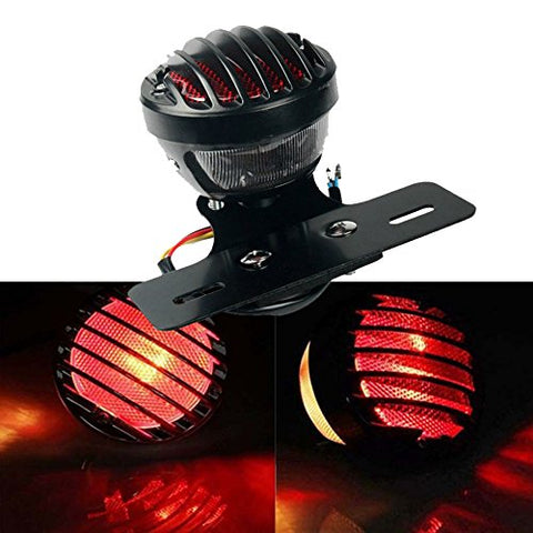 Tuincyn Red Motorcycle Tail Light With License Plate Holder Black Heavy Duty Motorcycle 12V Indicators Blinkers Lights Brake Stop Running Light For Harley Aprilia Bmw Ducati Suzuki Yamaha