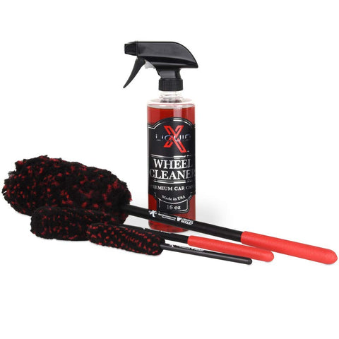 Liquid X Original Wheel Woolies Brushes 3 Piece Kit - Includes Angled Caliper Spoke Brush - Usa Made - Black - New & Improved (Brushes + Wheel Cleaner)
