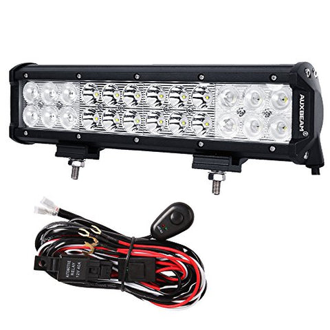 Auxbeam 12 Inch Led Light Bar 72W 7200Lm Light Bar Combo Beams 24Pcs 3W Cree Chips Waterproof With Wiring Harness