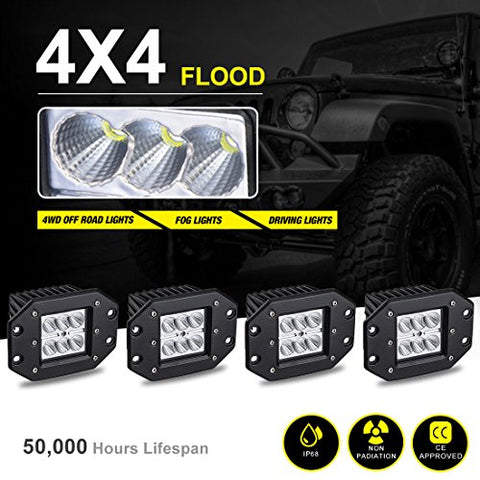 4Pcs Led Pods Flood Flush Mount 5  24W, 2400Lm Off Road Fog Work Lights For Motorcycle, Dirt Bike, Trucks, Jeep, Utv, Boats, 12 Months Warranty