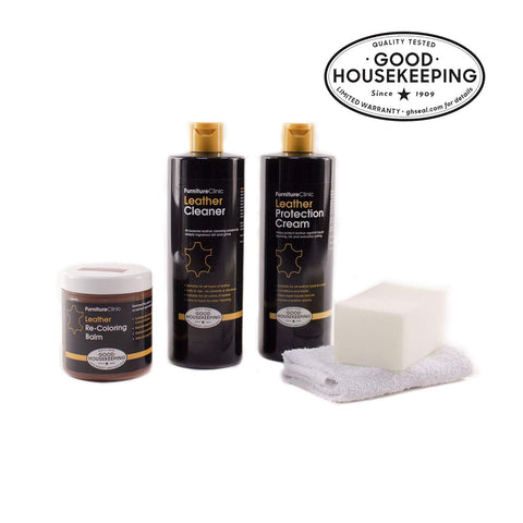 Furniture Clinic Complete Leather Restoration Kit - Set Includes Leather Recoloring Balm, Protection Cream, Cleaner, Sponge And Cloth - Restore And Repair Sofas, Car Seats And More (Dark Grey)