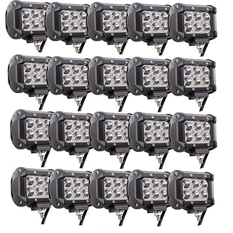 Lumitek 20Pcs 4Inch 18W Led Light Bar Cree Spot Light 1500Lm Led Pods Ip67 Waterproof 6000K Led Fog Lights Driving Lights Off-Road Lights For Pickup Jeep Trucks Suv Utv Tanks Van Camper Atv 4Wd
