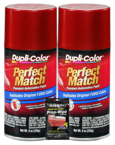 Dupli-Color Electric Currant Red Metallic Exact-Match Automotive Paint For Ford Vehicles - 8 Oz, Bundles With Prep Wipe (3 Items)