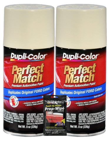 Dupli-Color Wimbledon White Perfect Match Automotive Paint For Ford Vehicles - 8 Oz, Bundles With Prep Wipe (3 Items)