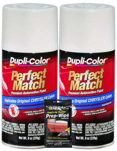 Dupli-Color Bright White Perfect Match Automotive Paint For Chrysler Vehicles - 8 Oz, Bundles With Prep Wipe (3 Items)