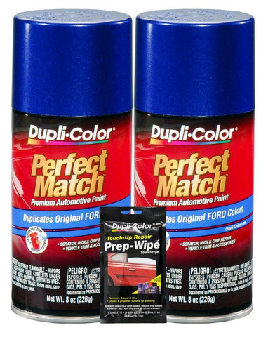 Dupli-Color Sonic Blue Pearl Exact-Match Automotive Paint For Ford Vehicles - 8 Oz, Bundles With Prep Wipe (3 Items)