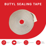 "Butyl Seal Tape Leak Proof Putty Tape Liner For Crawl Space, Windows, Rv Repair, Boat Sealing, Glass And Edpm Rubber Roof Patching (3/4"" X 1/8"" X 50', Gray)"