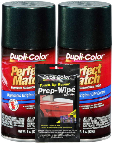 Dupli-Color Medium Green Metallic Exact-Match Automotive Paint For Gm Vehicles - 8 Oz, Bundles With Prep Wipe (3 Items)