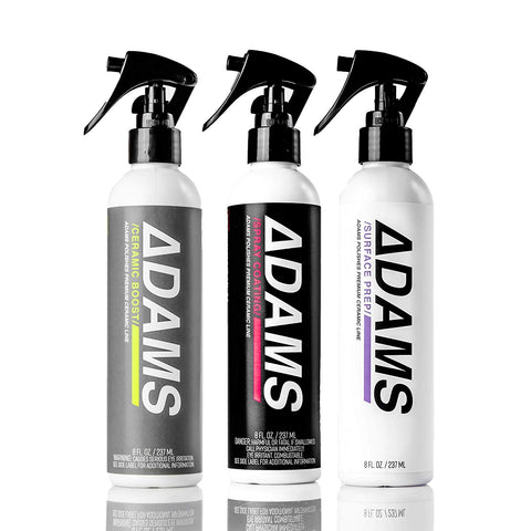 Adams Ceramic Spray Coating 8Oz  A True Nano Ceramic Protection For Car, Boat & Motorcycle Paint  Top Coat Polish Sealant After Clay Bar, Polishing & Detail Car Wash (Three Bottle Kit)