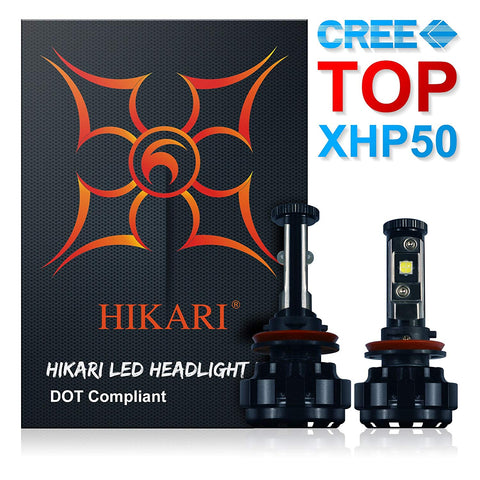Hikari Led Headlight Bulbs Conversion Kit -H11(H8,H9),Cree Xhp50 9600Lm 6000K Cool White,Two Yr Warranty
