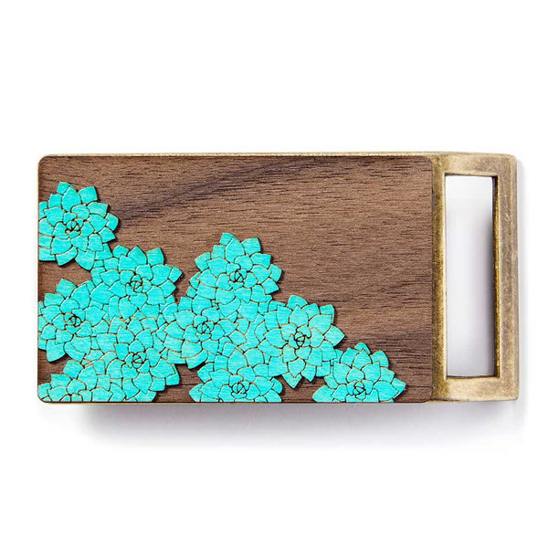 Teal Flowers Belt Buckle