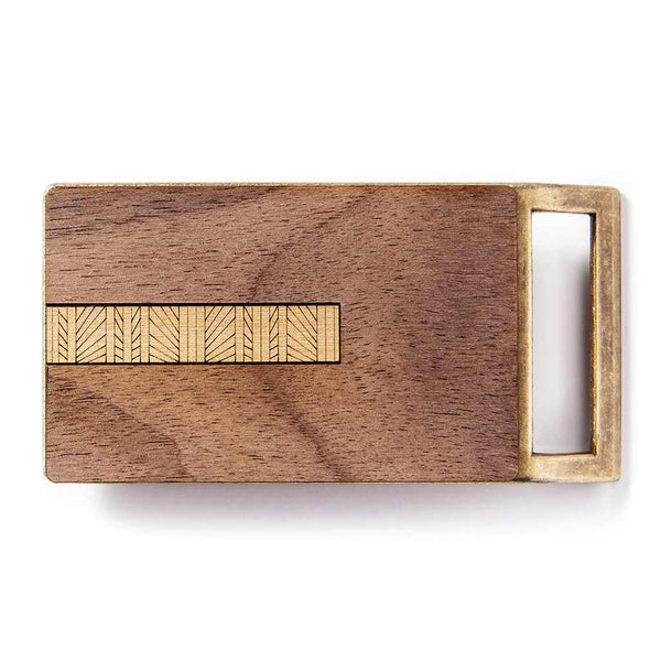 Geometric Lines Gold Belt Buckle