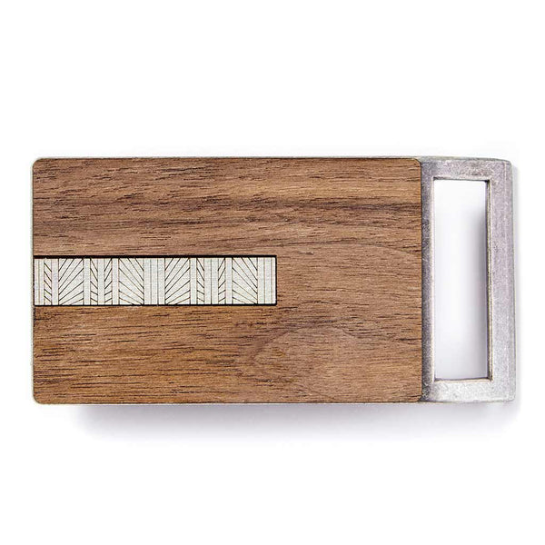 Geometric Lines Silver Belt Buckle