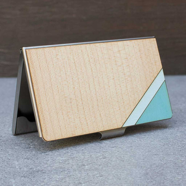 Stripe Card Case Blue & Maple