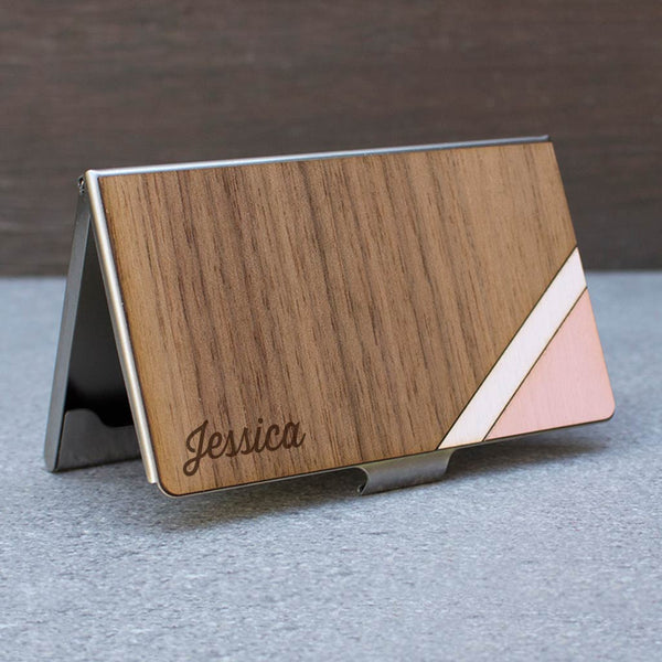 Stripe Card Case Pink & Walnut