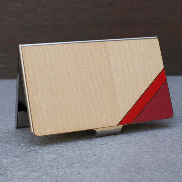 Stripe Card Case Red & Maple