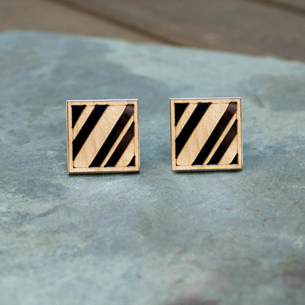 Diagonal Lines Cufflinks Maple