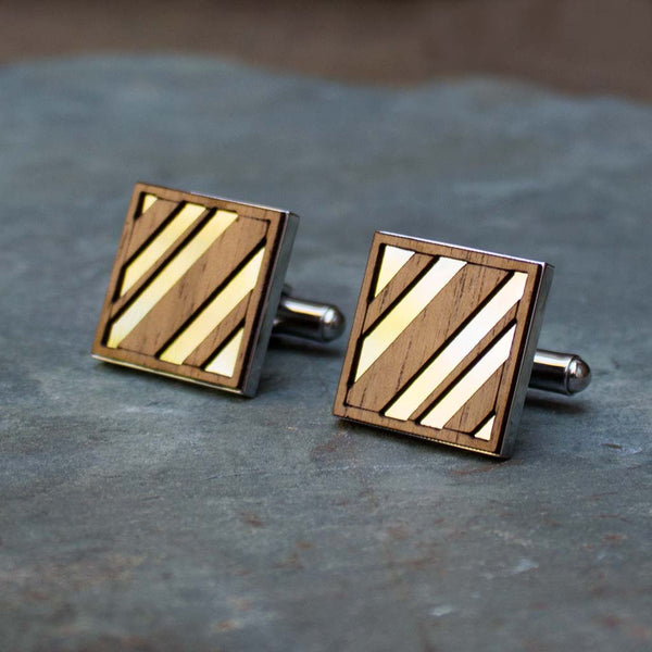Diagonal Lines Cufflinks Walnut